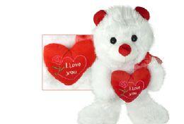 "12 Units of 14.5"" Plush Bears W/ ""i Love You"" Heart - Valentines"