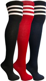 3 of Yacht & Smith Womens Over The Knee Socks, Referee Style Thigh High Knee Socks , Striped Red, Navy, Black