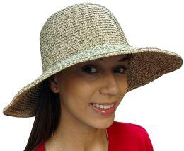 Yacht & Smith Floppy Stylish Sun Hats Bow And Leather Design, Style D - Khaki - Sun Hats