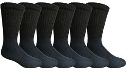 6 Wholesale Mens AntI-Microbial Crew Socks, Comfort Knit Ringspun Cotton, Terry Lined (6 Pack Navy)