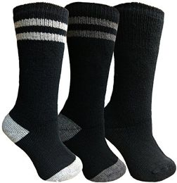Bulk Yacht&smith 3 Pairs Womens Brushed Socks, Warm Winter Thermal Crew Sock (3 Pairs Assorted d)