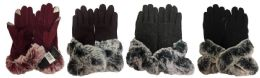 12 Units of Winter Touch Gloves Solid Color With Faux Fur - Conductive Texting Gloves