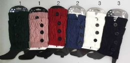12 Units of Knitted Boot Topper Crochet With 3 Big Buttons - Womens Leg Warmers