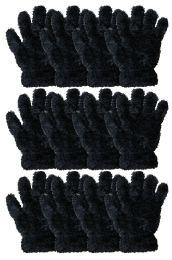 36 Bulk Kids Furry Gloves Solid Black , Warm And Fuzzy