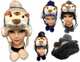 12 Units of Kid's Tiger Knitted Winter Hat - Winter Animal Hats