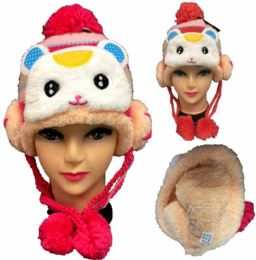 24 Units of Kid's Rabbit Knitted Winter Hat - Winter Animal Hats
