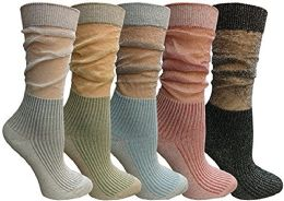 5 Units of Yacht & Smith 5 Pairs Ruffle Slouch Socks For Women Size 9-11 - Womens Crew Sock