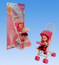 48 Units of Mini Doll With Stroller In Blister Card - Dolls