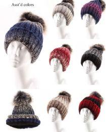 72 Bulk Women Winter Slouchy Beanie Hat Soft Fleece Knit Ski Skull Cap With Pom