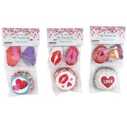 48 Units of Baking Cup Kit Valentine - Valentine Cut Out's Decoration