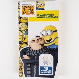 28 Units of Valentine Cards 16ct Despicable Me3 Deluxe Notepad - Valentine Gift Bag's