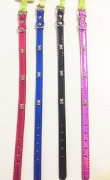 "60 Units of ""bone"" Shape Mini Dog Collar In Assorted Colors - Pet Accessories"