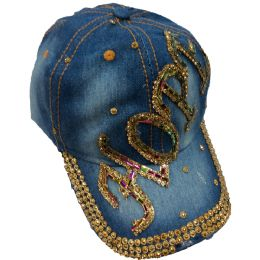"""12 Wholesale Ladies Sparkly """"hope"""" Printed Jean Hats In Assorted Colors"""