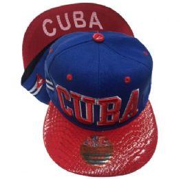 "24 Wholesale ""cuba""-Assorted Color Snapback Caps"