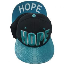 """24 Wholesale """"hope""""-Assorted Color Snapback Caps"""