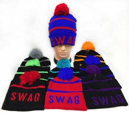 36 Bulk Knitted Pompom Unisex Swag Hats Assorted