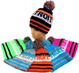 """48 Units of """"detroit"""" Knitted Hat With Pompom - Winter Beanie Hats"""