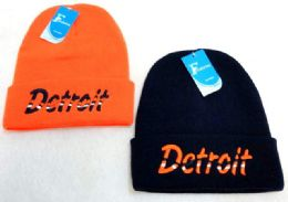 """48 Units of Knitted """"detroit"""" Winter Hat - Hats With Sayings"""