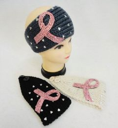 12 Bulk Knitted Headbands Breast Cancer Pink Rhinestone Ribbon