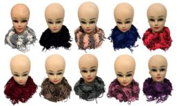 12 Units of Gold Lined Textured Infinity Knitted Scarves - Womens Fashion Scarves