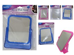 48 Bulk Mirror With Stand Square 3 Assorted Color