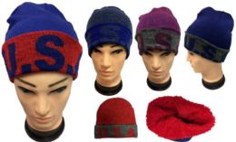 12 Units of Usa Plush Lining Winter Hat - Winter Beanie Hats