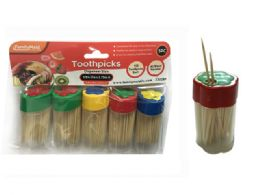 96 Units of Toothpick W/flower Bottle Dispenser - Toothpicks