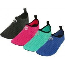 36 Units of Women's Wave Super Soft Elastic Nylon Upper Yoga Sock Water Shoes - Women's Aqua Socks