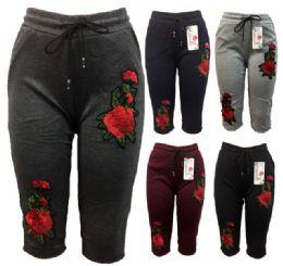 12 Units of Rose Flower Legging Assorted Colors Capris Pants - Womens Capri Pants