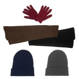 144 Bulk Unisex Winter Gloves, Scarf, Beanie In 5 Assorted Colors