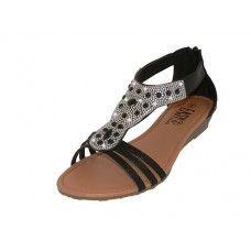 18 Units of Women's Rhinestone Sandals Black Color - Women's Sandals