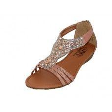 18 Units of Women's Rhinestone Sandals Rose Gold Color - Women's Sandals
