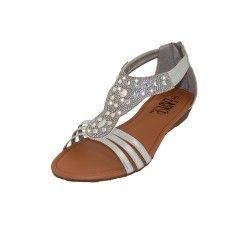 18 Units of Women's Rhinestone Sandals Silver Color - Women's Sandals
