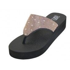 18 Units of Women's Rhinestone Upper Wedge Rose Gold Color - Women's Sandals