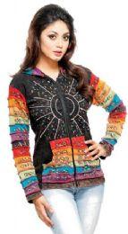 5 Bulk Nepal Handmade Cotton Jackets With Hood Rainbow Sequins