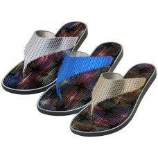 36 Units of Women's Metallic Upper Rubber Thong Flip Flops - Women's Sandals