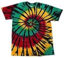 12 of Rasta Color Web Tie Dye Assorted Short Sleeve Shirts