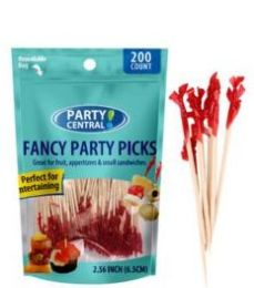 48 Units of Fancy Party Picks 200ct Red Tops - Party Paper Goods