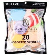 72 Bulk MakE-Up Blender Sponges Resealable Bag 20 Piece Count , Assorted Colors