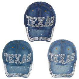 24 Wholesale Adjustable Texas Jewel Rhinestone Half Bling Studs Baseball Cap