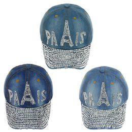 24 Wholesale Paris Jewel Rhinestone Bling Studs Adjustable Baseball Cap