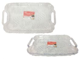48 Units of Rectangle Clear Plastic Trays Heavy Duty Plastic Serving Tray - Serving Trays