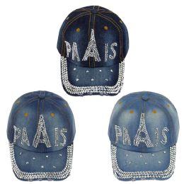 24 Wholesale Paris Jewel Rhinestone Half Bling Studs Adjustable Baseball Cap