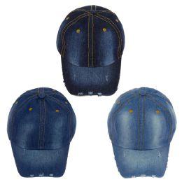 24 Wholesale Wholesale Denim Jean Adjustable Baseball Cap