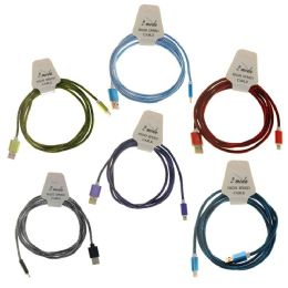48 Units of Wholesale High Speed Android Cable In 5 Randomly Assorted Colors - Cell Phone Accessories