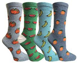4 Bulk Yacht&smith Hiking, Camping, Lightweight AntI-Microbial Wool Socks (4 Pair Fruity)