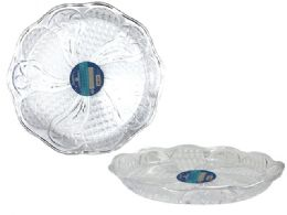 48 Units of Round Clear Plastic Trays Heavy Duty Plastic Serving Tray - Serving Trays