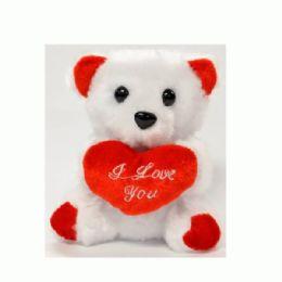 24 Units of Plush White Bear - Valentines