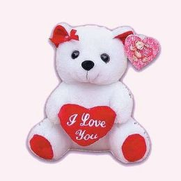 24 Units of 9 Inch Valentine White Bear - Valentines