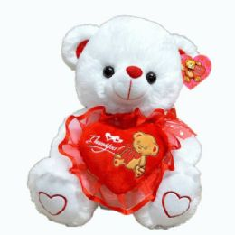 24 Units of White Bear With Red Heart - Valentines